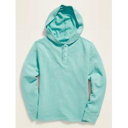 Dip-Dye Pullover Henley Hoodie for Boys