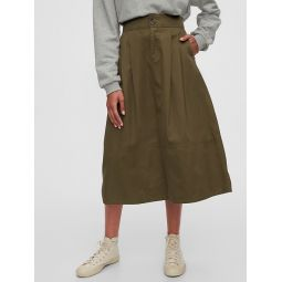 High Rise Khaki Midi Skirt